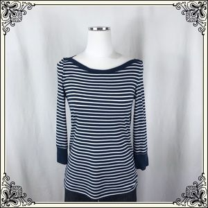 Akemi + Kin Navy/White Striped Top #2489